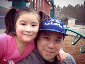 My brother Sean and his daughter Sylvia (which photo will have to do until I find a good snap of him with Sylvia AND Aki!)
