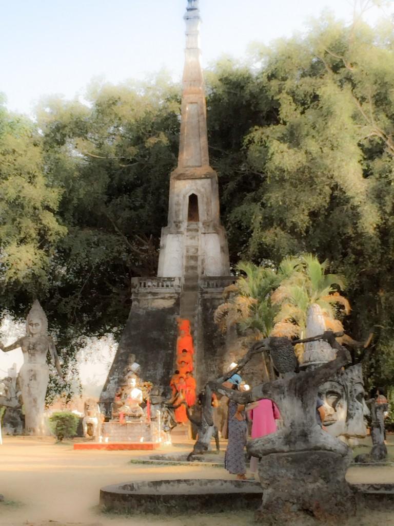 Monks at Buddha Park, Vientiane, Laos