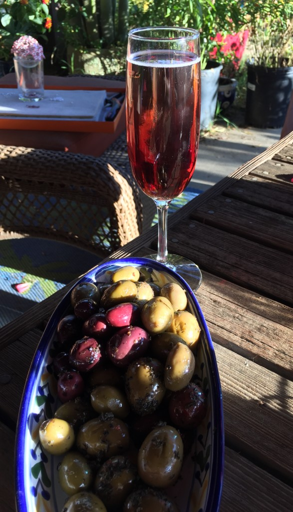 Thanksgiving aperitif-Kir Royale and olives